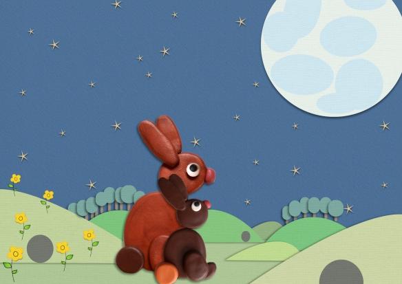 Bruintje+Mama kijkt naar maan