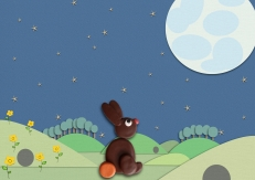 Bruintje kijkt naar maan fimo